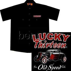 NEW Old Speed Hot Rod Car Work Shirt, Lucky 13, Big 5X