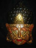 Bali Flower Tattoo face Buddha Mask~hand Carved Wood~Balinese wall Art