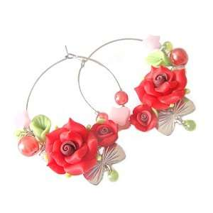 Bohemian Style Polymer Clay Flower Star and Butterfly Knot Hoop