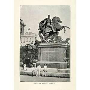 1901 Halftone Print Statue of Simon Bolivar Caracas Plaza