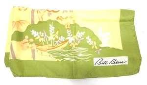 BILL BLASS Light Green Yellow Floral Print Silk Scarf
