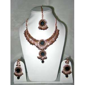 Bollywood Style Fashion Jewelry Set Handmade Dark Green