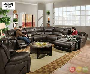 Bonded Leather Sectional Sofa w/ reclining Chaise by Simmons