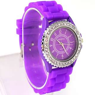Classic Silicone Crystal Mens Teenagers Lady Girls Jelly Watch