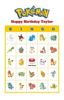 Pokemon Birthday Party Game Bingo Cards Basic Pokemon