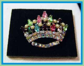 Vtg B DAVID style unsigned Multi Color Rhinestone Seed Pearl CROWN