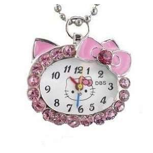 Cute Pink Hello Kitty Necklace Watch