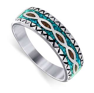 925 Sterling Silver Turquoise Coral Ring 8mm Band Ring