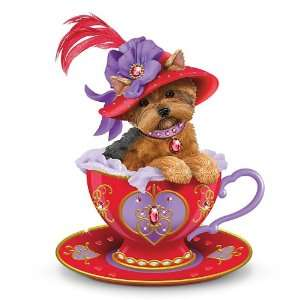 Yorkie Teacup Figurine: Infused With Red Hot Personali tea