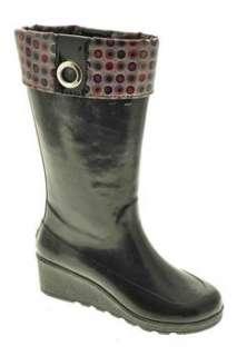 NEW Sadie Tall Womens Rain Boots Black Waterproof BHFO 10