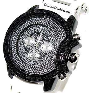 ICED OUT MENS WHITE/BLACK ICE NATION HIP HOP BLING SILICONE WATCH