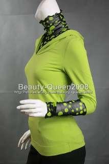 HOODED Cotton Blouse Tunic Top Green Black Spots sz XS
