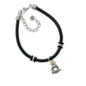 with Gold Crown Silver Tone Plated Black Rubber Charm Brac Jewelry