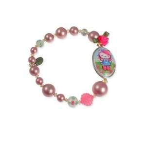 Tarina Tarantino Hello Kitty Pink Head Rose Cameo Bracelet