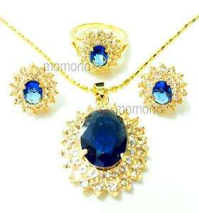 Oval round blue sapphire cz Necklace studs Ear ring SET