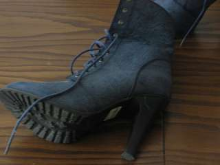 Woman womens Blue Knee Ankle High Heels Shoes Boots Lace Up Size 8