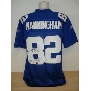 Mario Manningham Autographed Uniform   Go Big Blue JSA   Autographed