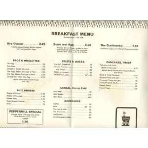 Holiday Inn Peppermill Breakfast Menu Placemat