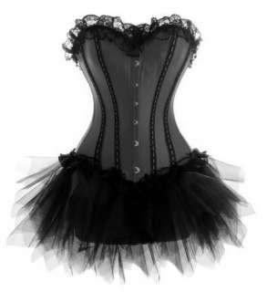 various colors Sexy plastic boned Lace up Corset Bustier/tutu skirt S
