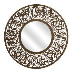 Contemporary Round Botanical Leaf Cutout Mirror Gold