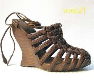 BOTTEGA VENETA brown Patent LEATHER ankle Wrap WEDGE sandals NIB