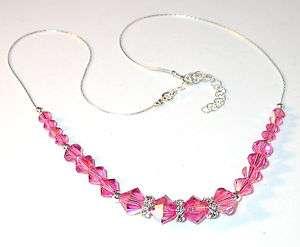 SWAROVSKI CRYSTAL ELEMENTS Sterling Silver Necklace ROSE PINK
