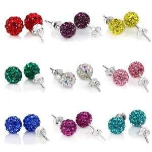 6mm Size Swarovski Crystal Disco Ball 925 Silver Studs Earrings Multi