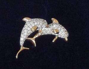 Genuine Signed Swan Swarovski Crystal Dolphins Brooch