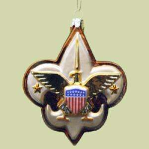 GLASS BOY SCOUT EAGLE LOGO CHRISTMAS HANGING ORNAMENT
