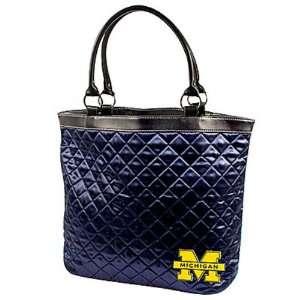 Michigan Wolverines Ladies Navy Blue Quilted Tote Bag