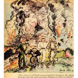 1945 Print Manila Philippines Japanese Occupation Burn