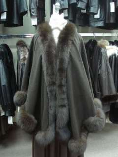 NEW BROWN CASHMERE WOOL & FOX FUR CAPE FOR WOMEN