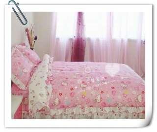 Queen/Full Cotton Quilt Duvet Cover Kids Bed Set Hello Kitty 4pc Brand