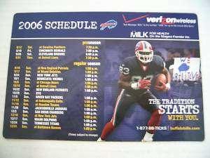 2006 NFL Buffalo Bills Football Magnet Schedule