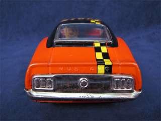 Vintage Tin Battery Op Ford Mustang Stunt Car TPS Japan