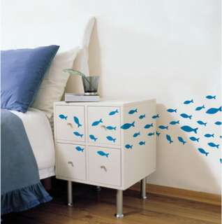 PS#78 Blue Fish, DIY Mural Removable Decor Wall Sticker
