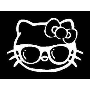 Studious HELLO KITTY with Glasses Vinyl Car Sticker/Decal