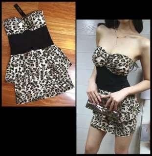 Sexy Women Party Cocktail Bustier Dress Mini Clubbing Wear Leopard
