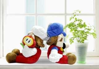 Super Mario Bros Plush Doll Toy Set #blue+white