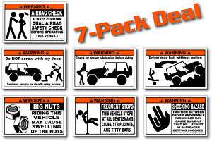 Pack Funny Jeep Warning Stickers Decals TJ XJ CJ YJ