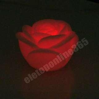 1xChanging Color Floating Rose Flower LED Candle lights