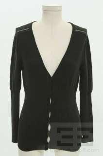 Sonia Rykiel Black Rib Knit V Neck Cardigan Size 40