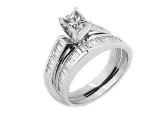 WOMENS DIAMOND ENGAGEMENT RING WEDDING BAND BRIDAL SET PRINCESS CUT