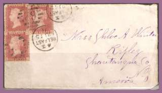 Great Britain Stamps 18710715 Penny Reds on Cover to NY