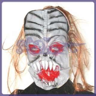Ghoul Demon Monster Latex Mask w/ Hair Halloween Costume Prop