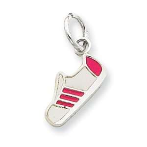 Designer Jewelry Gift Sterling Silver Pink Enameled Sneaker Charm