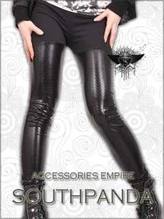 SL151 Black Tear Dot Punk Rock Tight Pants Leggings