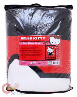 Hello Kitty Plush Throw Blanket Micro Sherpa  Red 58x78