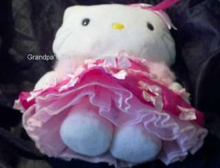 HELLO KITTY Pink Dress Bows Plush Boa SanRio Crinolines