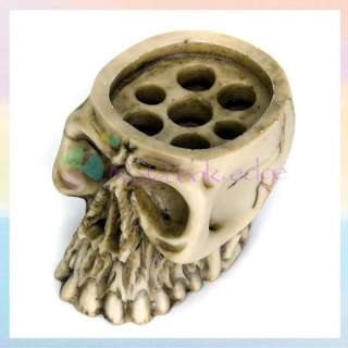 Skull Tattoo Supply Ink 7 Cap Cups Holder Stand Kit Set